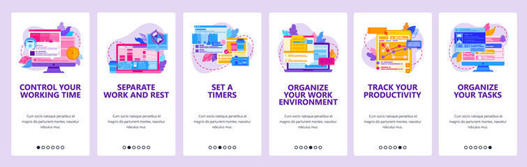 Wall Mural - Time management and work productivity. Task organizer, business project management. Mobile app onboarding screens. Vector banner template for website mobile development. Web site design illustration