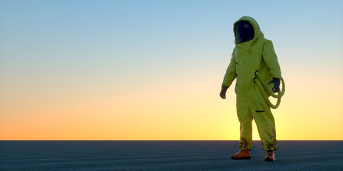 Extremely detailed and realistic high resolution 3d illustration of a man in a Hazmat suit