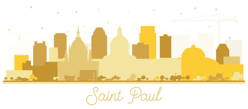 Saint Paul Minnesota City Skyline Silhouette with Golden Buildings Isolated on White.