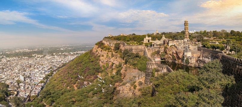 Panoramic view of the historic Chittorgarh Fort at Rajasthan at sunset. Chittor Fort is a UNESCO World Heritage site and one of the largest forts in India.