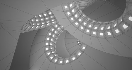 Abstract drawing white interior with discs and neon lighting. 3D illustration and rendering.