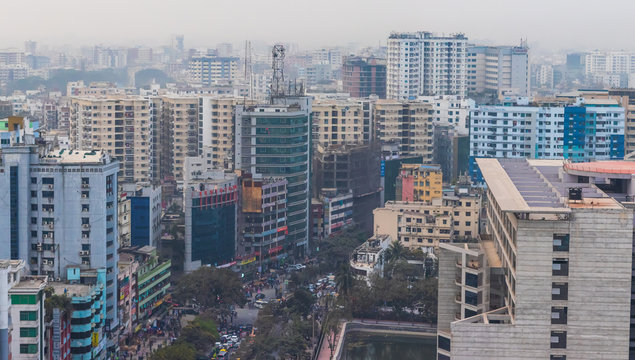 Road in the middle of Buildings in Dhaka City
