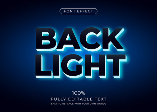 Back light text effect. Editable font style