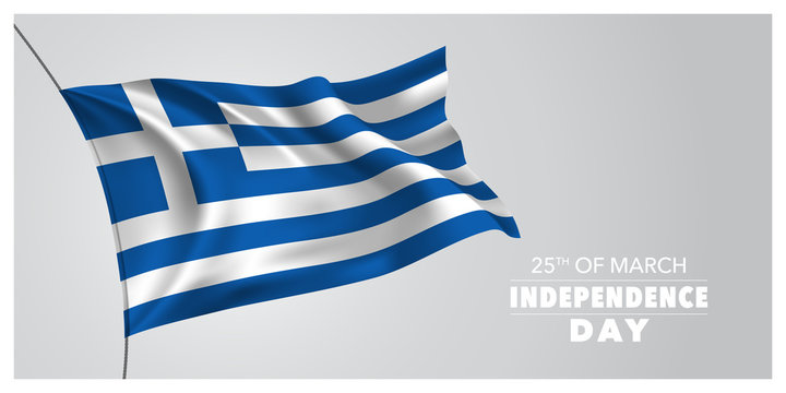 Greece independence day greeting card, banner, horizontal vector illustration
