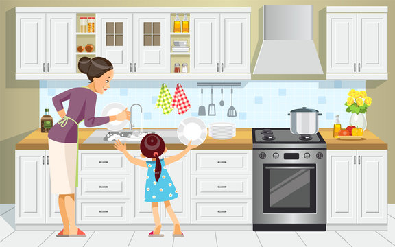 Mother and daughter washing the dishes. Girl Help Her Mum In Washing Dishes At Family Kitchen. Mother's day. Best mom. Concept motherhood child-rearing. Vector cartoon style illustration