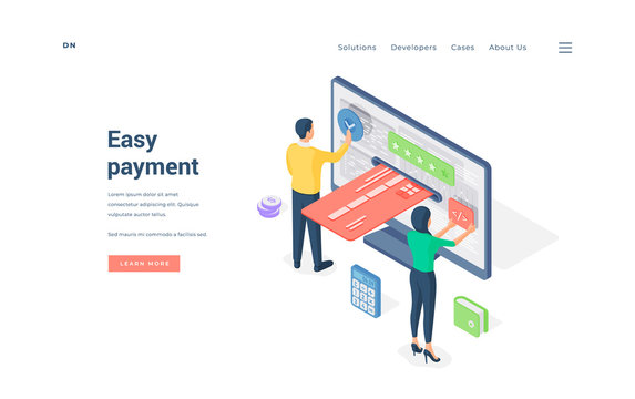 People using easy online payment service. Isometric vector illustration