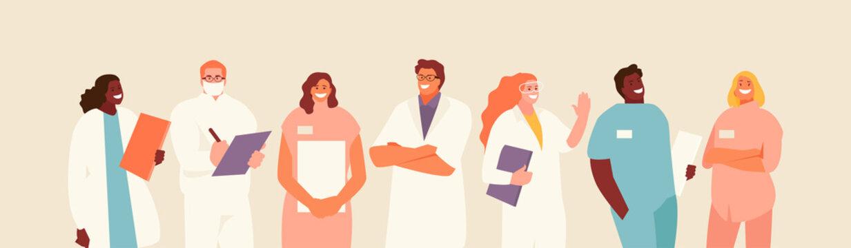 Group of friendly medical workers. Doctors, orderlies, nurses vector characters