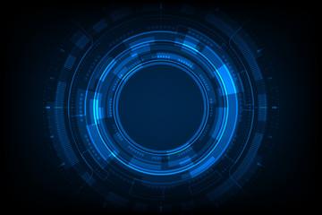 Blue light circle center cyberspace on dark background HUD. Fotobehang