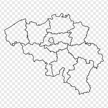 Blank map Belgium. High quality map Kingdom of Belgium with provinces on transparent background for your web site design, logo, app, UI. Stock vector. Vector illustration EPS10.