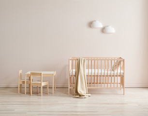 Modern wooden crib and baby room style, pink wall and cabinet decor.