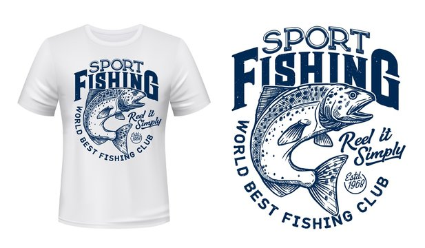 Salmon fish t-shirt print, fishing sport lettering. Vector salmon, ocean animal with spots and curved tail blue badge, custom apparel of fisherman club, fishing camp or competition design