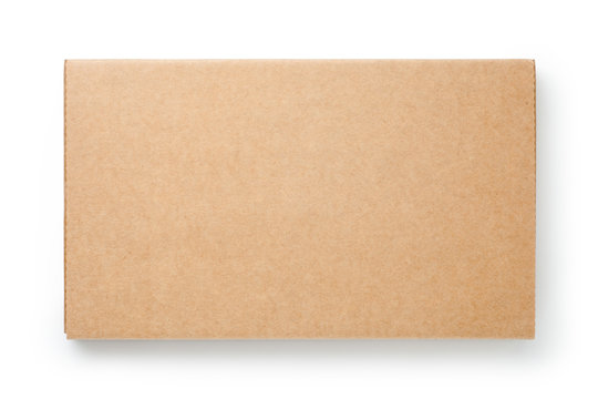 Brown cardboard box isolated on white background. Top view.