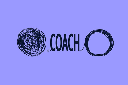 icons showing untangling a tangled line with the help of a mentor. metaphor for a business coach who helps with seemingly difficult problems