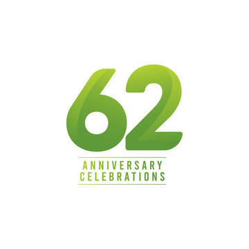 62 Years Anniversary Celebration Number Text Vector Template Design Illustration