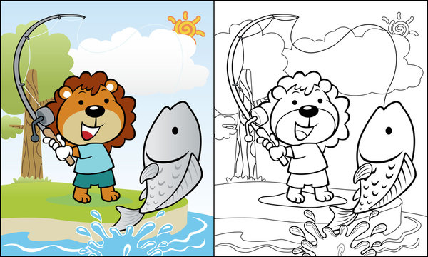 Cartoon of lion fishing in a river, coloring book or page