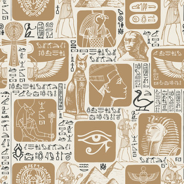 Vector seamless pattern on the Ancient Egypt theme with illustrations and hieroglyphs. Suitable for wallpaper, wrapping paper, fabric, background in retro style. The Egyptian symbols and mascots