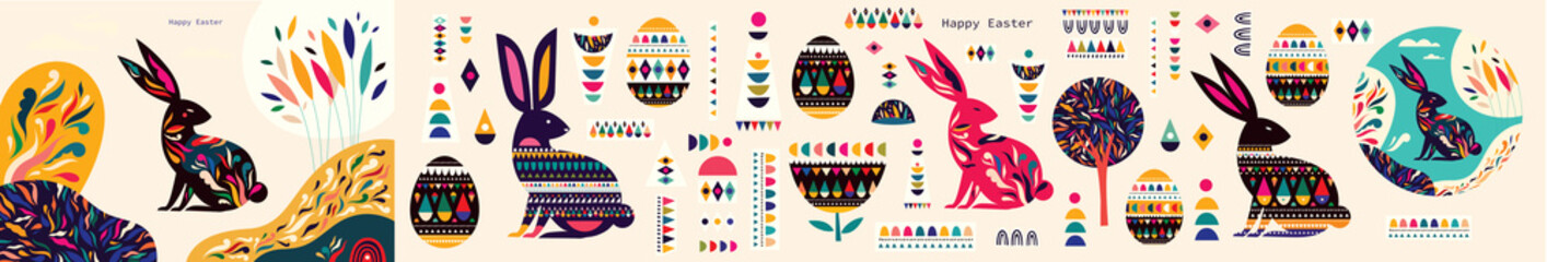 Fototapete - Big Easter collection with easter rabbit, easter eggs and decorative elements. Happy easter greeting set.
