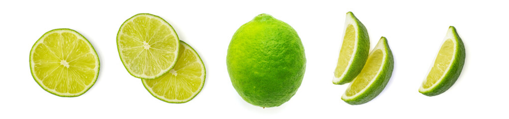 Set of fresh whole and slices lime. Isolated on white background. Top view Wall mural