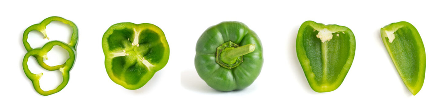 Set of fresh whole and sliced green bell pepper isolated on white background. Top view