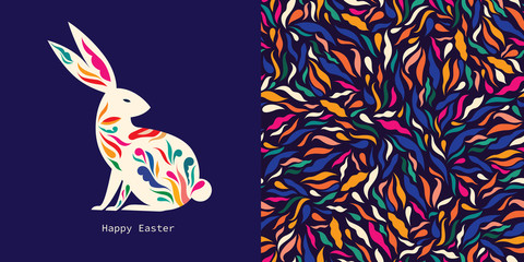 Fototapete - Colorful illustration with hare. Happy easter greeting card with decorative easter bunny