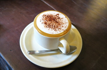 Cappuccino avec mousse de lait et chocolat en poudre.