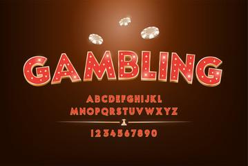 Fototapeta Red gambling and casino alphabet font set