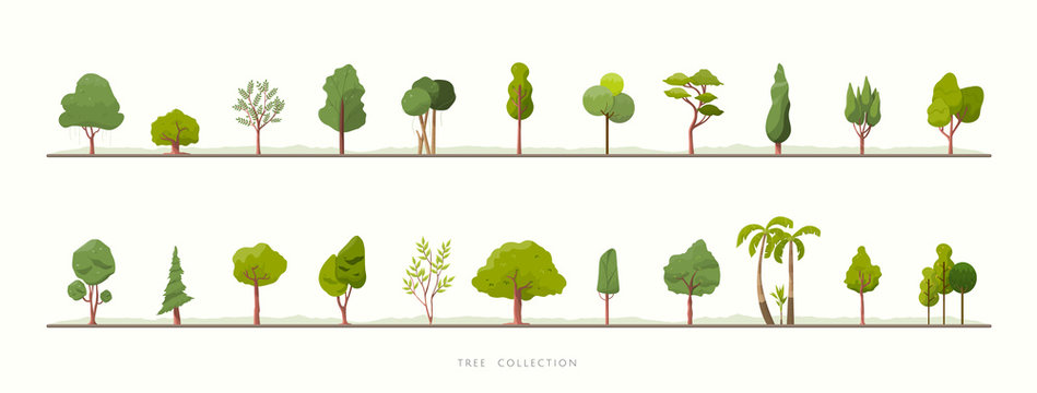 Collection of green tree vector icons