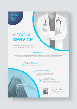 Medical health care cover template design for Flyer, Brochure, Leaflets, Pamphlet, Presentation, Banner, Magazine, Poster. Vector illustration.