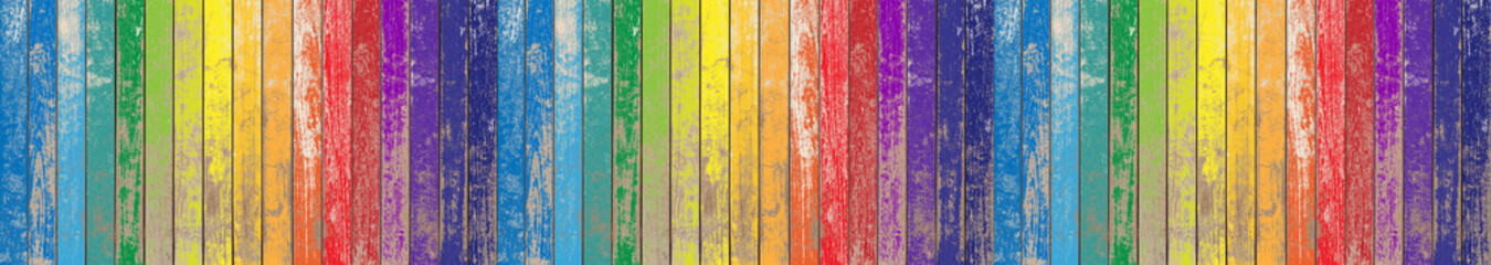 Photo Blinds Wood Fond bois de bardage aux couleurs de l'arc-en-ciel