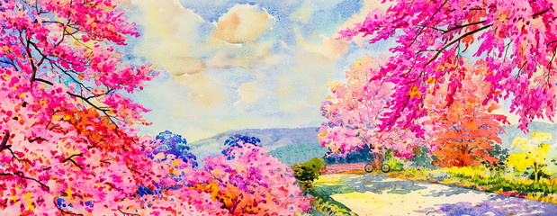 Abstract watercolor landscape painting imagination colorful of beauty flowers Fotobehang