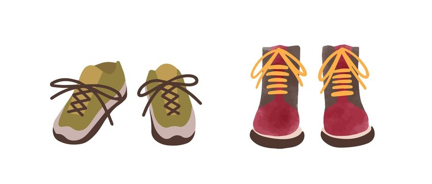 Two pair of colorful autumn shoes hand drawn in watercolor style isolated on white