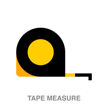 tape measure flat icon on white transparent background. You can be used black ant icon for several purposes.