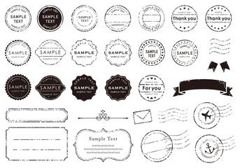 Obraz レトロな消印やフレームのイラスト素材 - fototapety do salonu