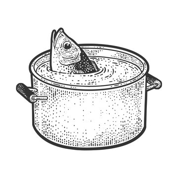 Fish peeks out of a pot of water sketch engraving vector illustration. T-shirt apparel print design. Scratch board imitation. Black and white hand drawn image.