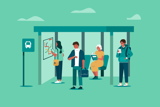 People Characters Waiting for Transport at Bus Station. Woman and Man Passengers Standing at Bus Stop. Public Transportation Concept. Flat Cartoon Vector Illustration.