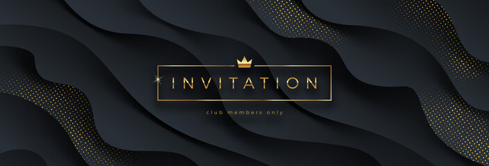 Luxury style template invitation. Golden caption in frame with crown on a black layered background with golden halftone. Design for greeting, invitation, ticket or flyer. Vector illustration.