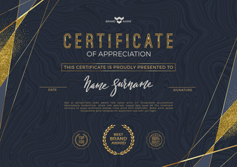 Certificate template with luxury golden elements