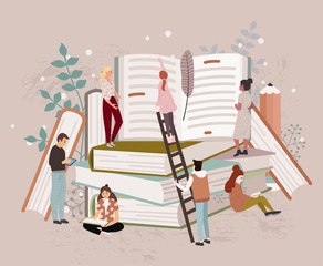 People or students reading studying and preparing for examination sitting on stack of giant books or beside it. Set of book lovers, readers, modern literature fans. Flat cartoon vector illustration