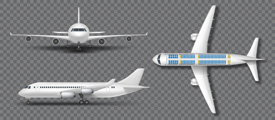 Realistic white airplane, airliner isolated. Airplane in profile, from the front and top view. Travel Passenger plane mockup set. Vector illustration Fotobehang