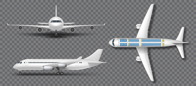 Realistic white airplane, airliner isolated. Airplane in profile, from the front and top view. Travel Passenger plane mockup set. Vector illustration