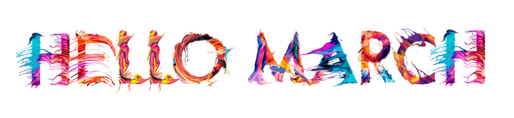 Hello march typography brush stroke design for greeting cards