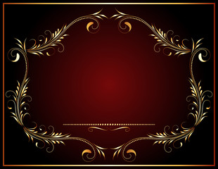 Wall Mural - Decorative vintage frame with golden floral ornament and border in victorian style for decor booklet cover, invitation, congratulations or presentation