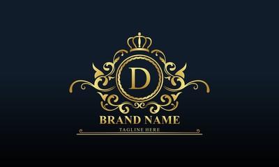 Ornamental luxury golden logo design vector illustration
