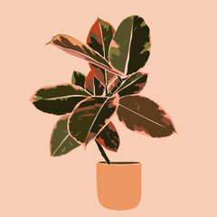 Art collage plant Tropical ficus leaves in a minimal trendy style. Silhouette of a plant. Vector illustration