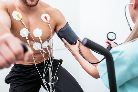 Male athlete does a cardiac stress test