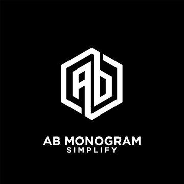 ab, ba, a b initial monogram hexagon letter white logo design with black background