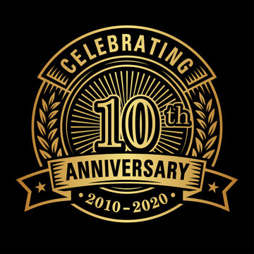 10 years of celebrations design template. 10th logo. Vector and illustrations.