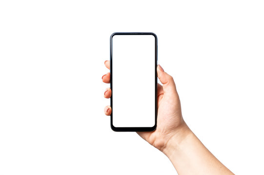 Woman hand holding and showing blank smart phone isolated on white background with clipping path around and display with copy space for your text