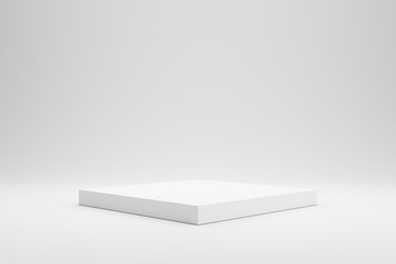 Fototapeta Empty podium or pedestal display on white background with box stand concept. Blank product shelf standing backdrop. 3D rendering. obraz