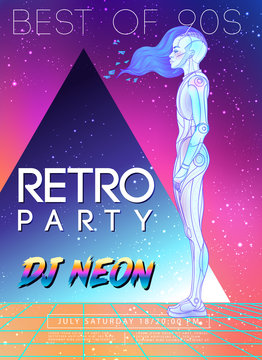Portrait of robot android woman in retro futurism style. Vector illustration of a cyborg in glowing neon bright colors. futuristic synth wave flyer template. Cyber technology. African american style.